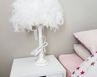 White feather bedside lamp