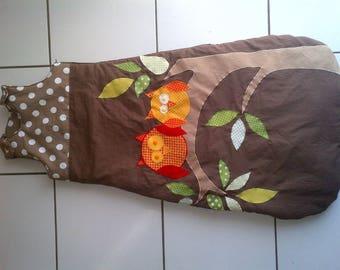 Brown with owls in fleece sleeper