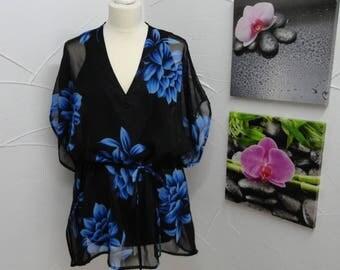 Blue flower print black chiffon tunic