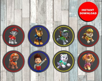 Printable Paw Patrol Cupcakes toppers instant download, Paw Patrol Chalkboard party Toppers, Printable Paw Patrol Toppers