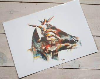 Fine Art Print Sunlit Stag Painting