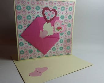 Card Valentine's day-envelope and flight of hearts