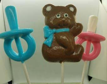 Chocolate teddy bear lollipop