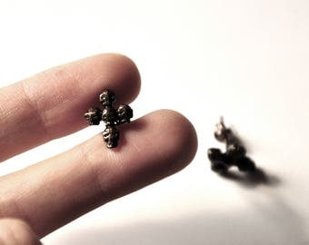 Stud Earrings Gothic cross with skulls, black copper