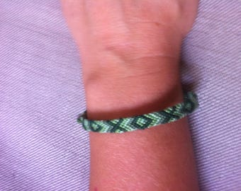 Friendship Bracelet in 4 shades of green