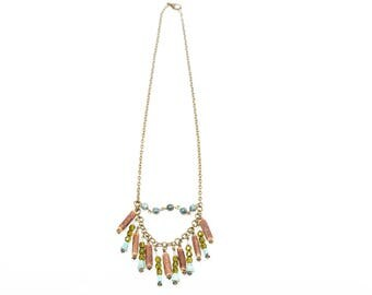 Ethnic fringe - Turquoise - Wood - Green Jasper necklace
