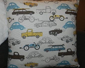 ecru, blue and yellow with vintage cars cushion