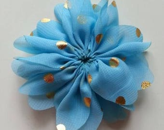 fleur bleu à pois doré     80mm