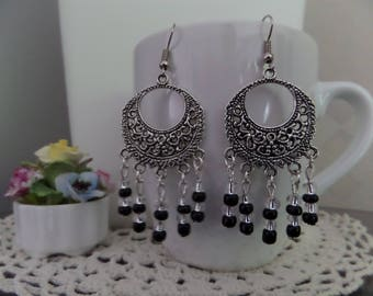 """Earrings, unique, """"Ethnic"""" black/silver, black glass and Crystal seed beads."""