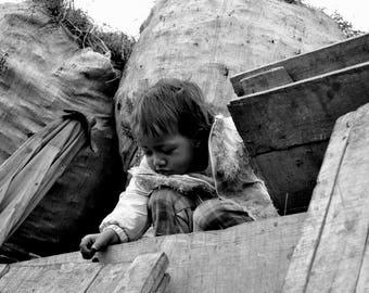 "Photography black and white: ""Oh, a snail!"" - Antananarivo, MADAGASCAR - 2015"