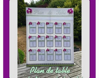 Romantic Orchid themed wedding table plan