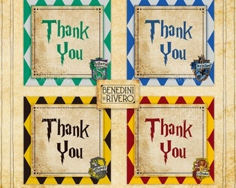 Harry Potter Thank You Tags | Gryffindor, Ravenclaw, Hufflepuff, Slytherin | Printable | Instant Download | Harry Potter Party