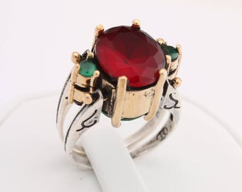 Extraordinary Ring! Two in a One Ring Reversible Style Oval Cut Emerald Ruby Jade 2 Band Women Ring All Sizes
