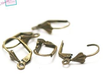 """10 sleepers """"seashell"""" for earring, bronze"""
