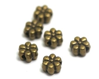 "20 pearls ""puck flower"" 8 x 5 mm, bronze"