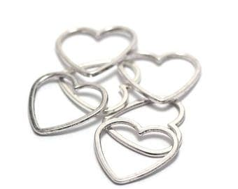 """beautiful 10 """"heart"""" 25x24mm silver connectors"""