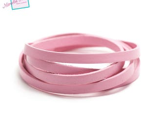 1 m cord 6 mm genuine leather strap, pink