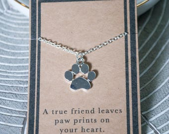 Paw Print Necklace - Animal Print Necklace - Silver Paw Print - Gift for Lost Pet - Gold Paw Print