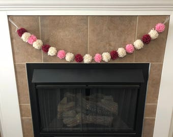 Tri-colored Pompom Garland (Pink, Ivory, & Marled Fuschia)
