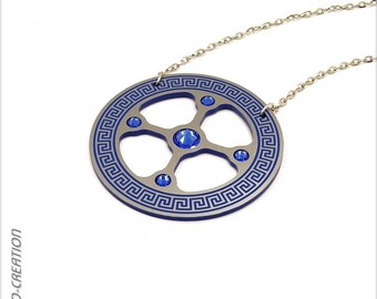 """Necklace collection GYRO """"Antic"""" (Silver/Blue)"""