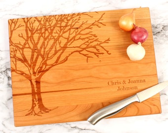 Cutsomizable Engraved Autumn Tree, Solid Cherry Wood Cutting Board, 5 Year Anniversary Gift, Wedding Gift