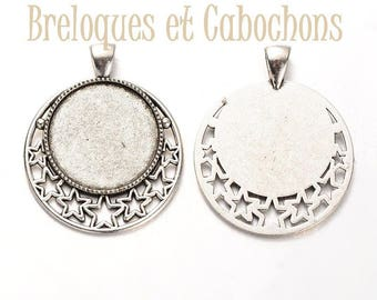1 pendant cabochons 25mm silver plated support