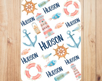 Custom blanket, newborn gift, nautical baby blanket, personalized baby blanket, baby shower gift, swaddle blanket, baby boy blanket