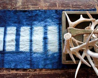Indigo Table Runner - Shibori Linen Natural Dyed, Rustic Table Runner, Spring Decor