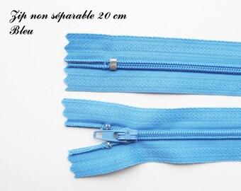 Simple not separable 20 cm zip 1: Blue