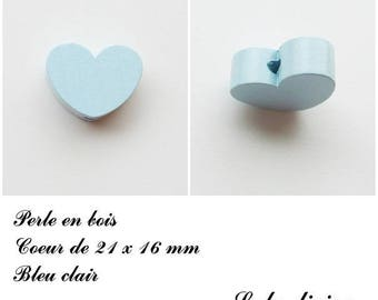 21 x 16 mm wooden bead, Pearl flat heart: light blue