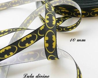 Batman Logo with 10 mm black grosgrain Ribbon sold by 50 cm