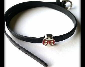 Bracelet double black silicone with Red Ladybug