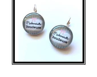 """Original earrings & single """"Miss Sulky"""" personalized, derision, heart, bow, gray, pink, Crown"""