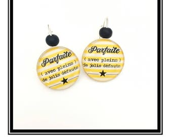 """Original earrings & single """"perfect...  """"Personalized, derision, heart, bow, yellow, black, stripes, Star, humor"""""""