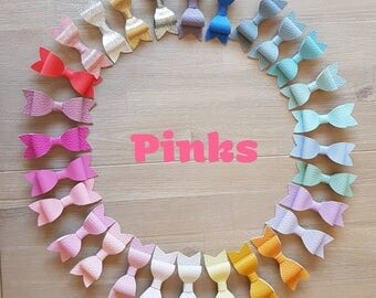 Pink Leatherette Bows