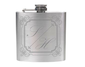 Personalised Engraved 6oz Silver Hip Flask - Large Initials