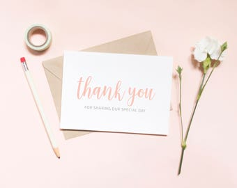 Wedding, Printable, DIY Wedding, Thank You Cards Wedding thank you for sharing our special day card, pink