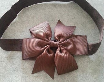 baby girl headband pattern Brown bow