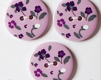 Set of 3 decorative buttons purple liberty style 25 mm - sewing button purple flower - button flower purple mauve background