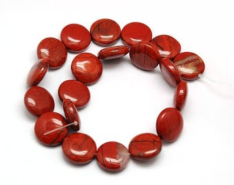 10 flat round beads red Jasper - red Jasper gemstone bead - stone japse semi precious round and flat