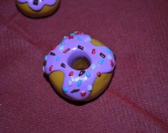 Polymer clay donut keychain