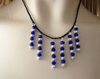 Braided necklace royal blue Crystal, zinc alloy beads