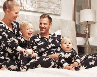 Family Christmas Pajamas Flapjacks Classic Navy Moose Adult Unisex Kids Baby Family Pajamas Family Flapjacks Moose Pajamas Christmas Pajamas