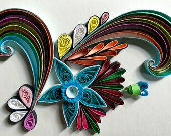 Flower Design:Handmade Quilling Art Gift-Quilled Art Flower-Wall Art Picture-House Warming Gift-Special Flower Design-Gift For Love