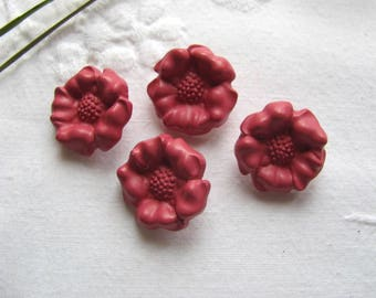 Buttons shaped flowers raspberry / 19mm