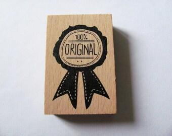 """Wooden """"100% Original"""" rubber stamp Scrapbooking, deco"""