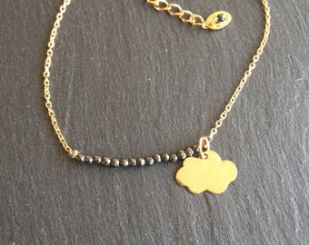 cloud with gold sparkling black stones bracelet