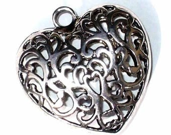 Pendant 1 maxi 50mm MB133 3D silver metal heart