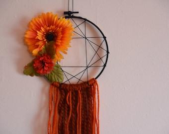 Orange Floral Dreamcatcher