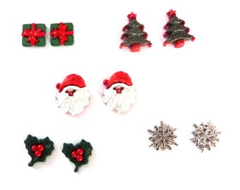 Novelty Christmas Earrings Choose from Father Christmas. Parcel, Tree, Snowflake, Holly